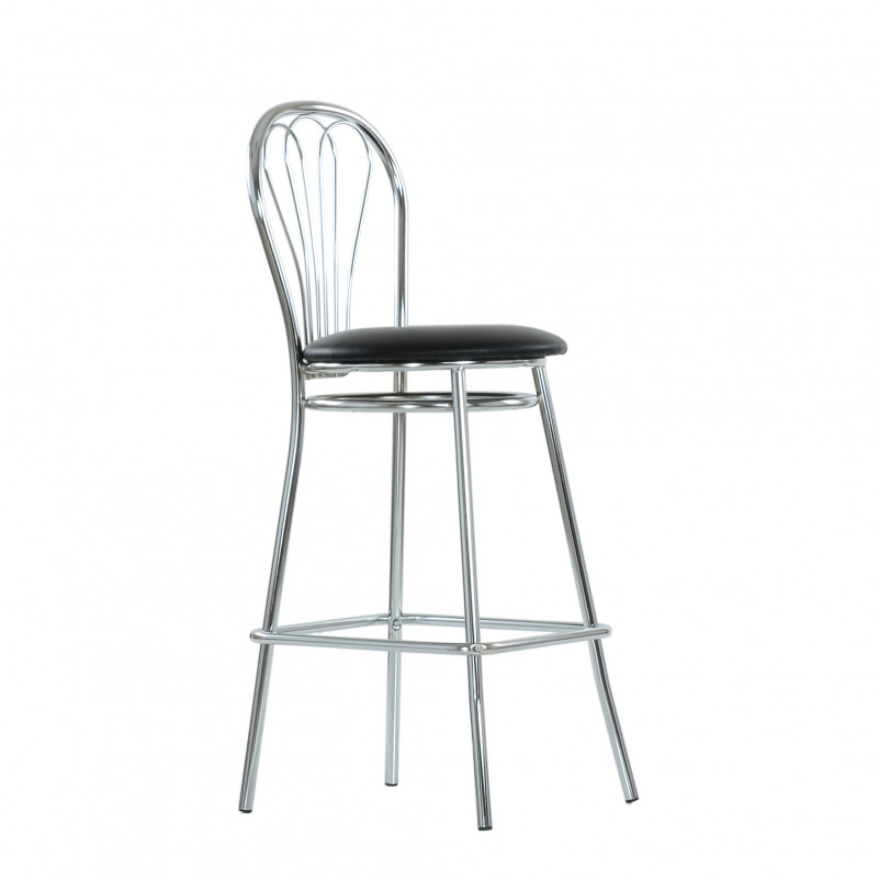 Барный стул Venus Hoker Chrome черная кожа V-4, NS