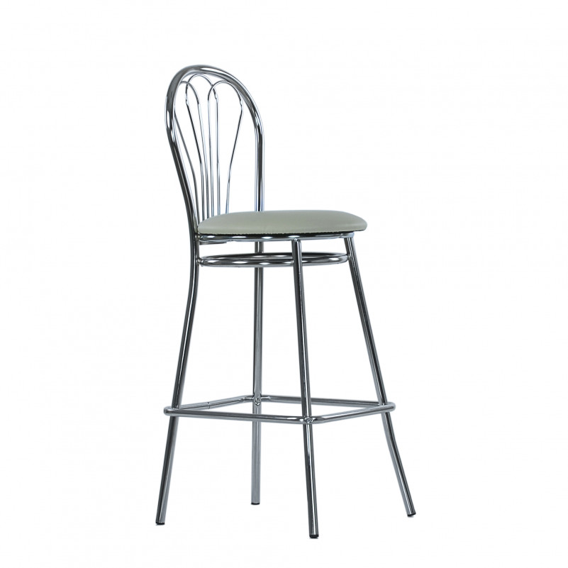 Барный стул Venus Hoker Chrome бежевая кожа V-18, NS