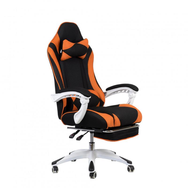 Кресло Barneo K-140 White Edition черная ткань и оранжевая сетка