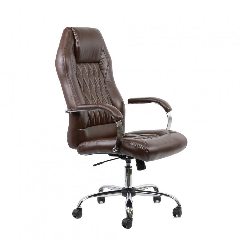 Кресло Barneo K-69 для руководителя коричневая кожа