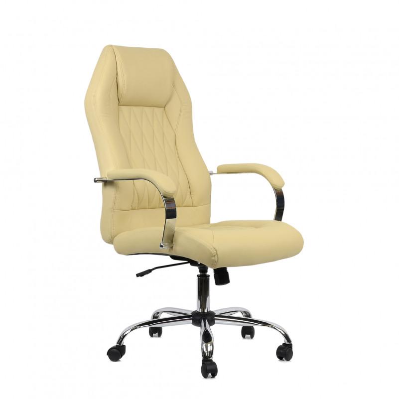 Кресло Barneo K-69 для руководителя бежевая кожа