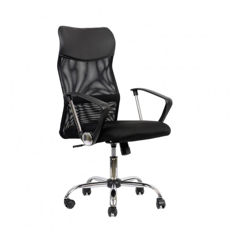 Кресло Barneo K-133 для персонала черная ткань черная сетка