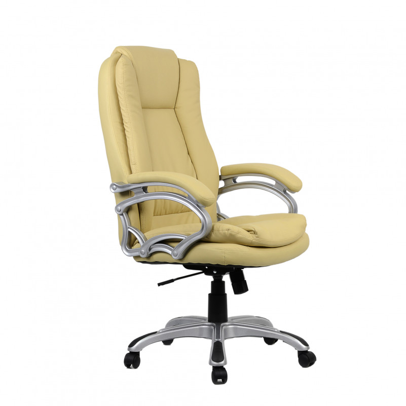 Кресло Barneo K-146 для руководителя бежевая кожа