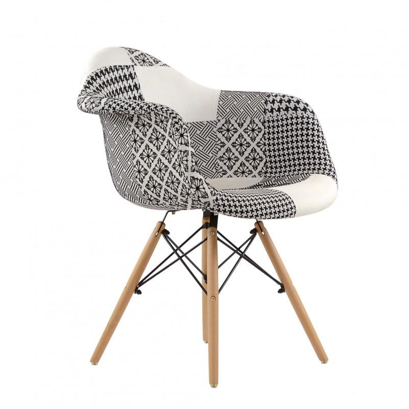 Кресло Barneo N-14 Patchwork черно-белый