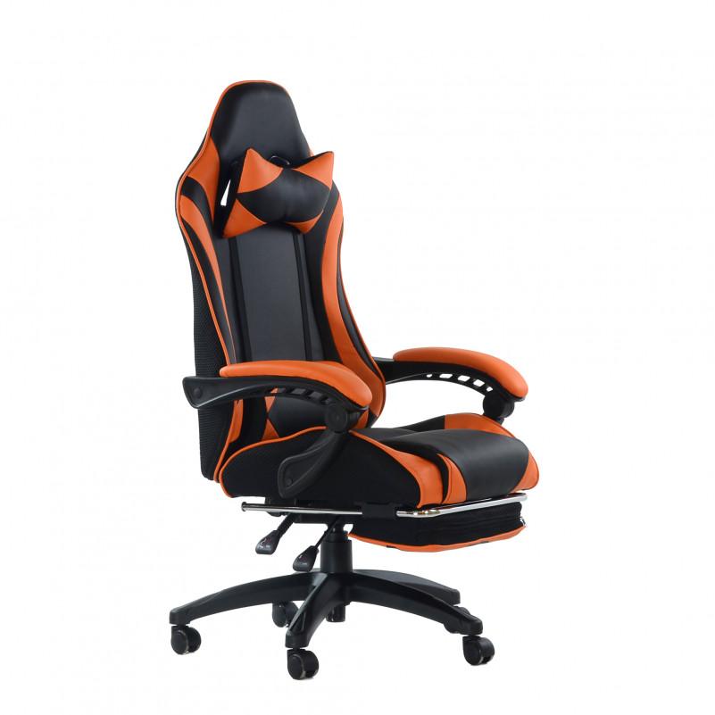 Кресло Barneo K-39 Black Edition черно-оранжевая кожа и сетка