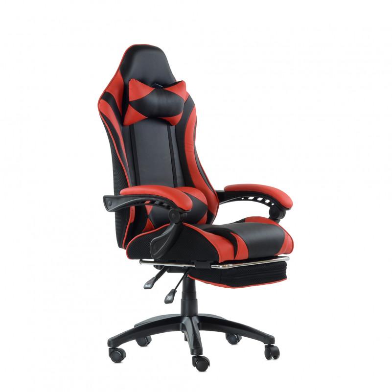 Кресло Barneo K-39 Black Edition черно-красная кожа и сетка