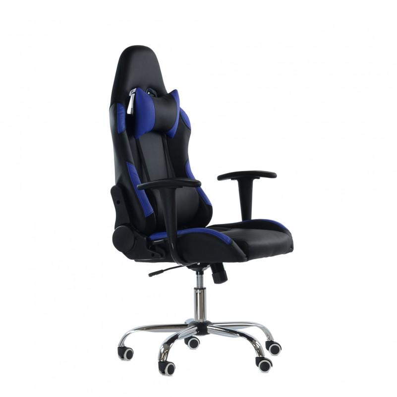 Кресло Barneo K-42 черная и темно-синяя кожа