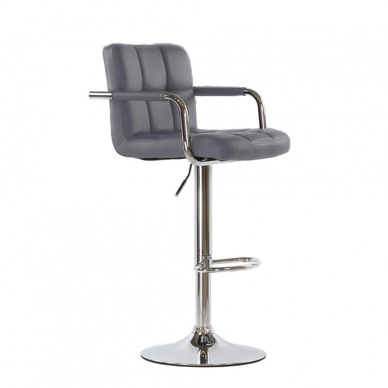 Барный стул Barneo N-69 Kruger Arm / Chrome / PU серая кожа / (10*10/415)