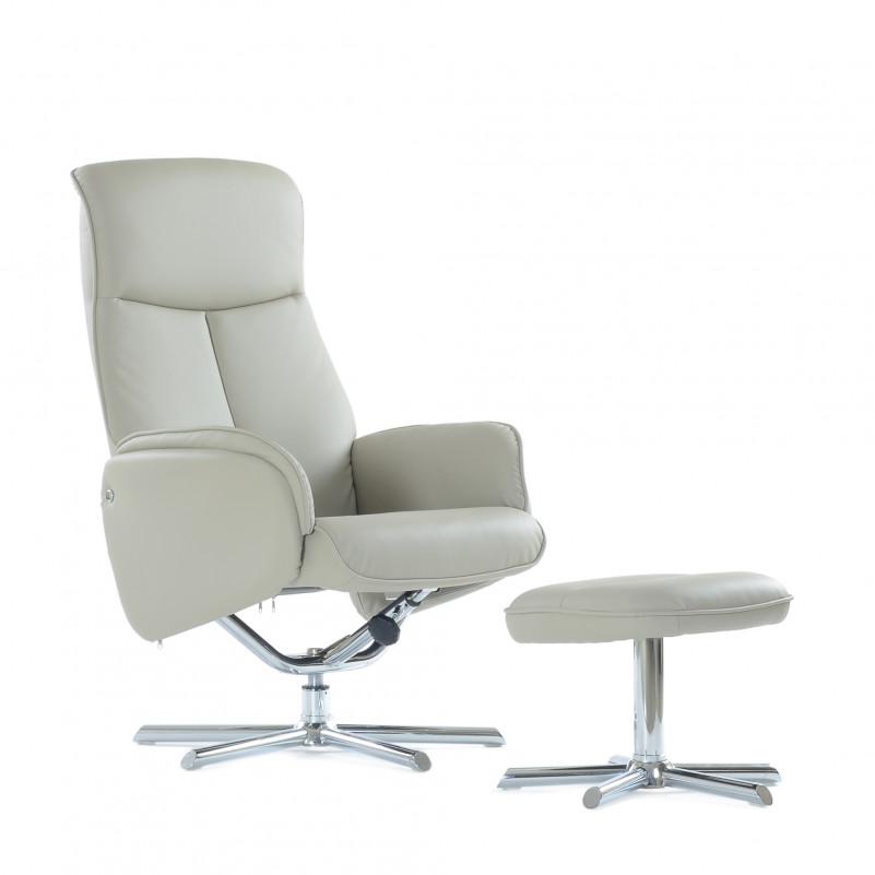 Кресло с оттоманкой Barneo 6106 бежево-серое