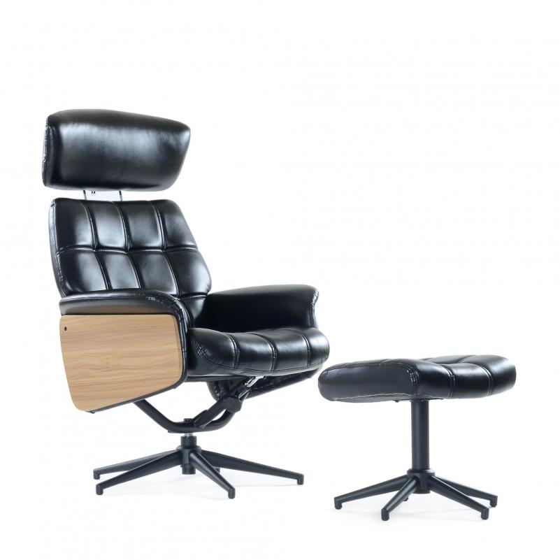Кресло с оттоманкой Barneo 6203 черное