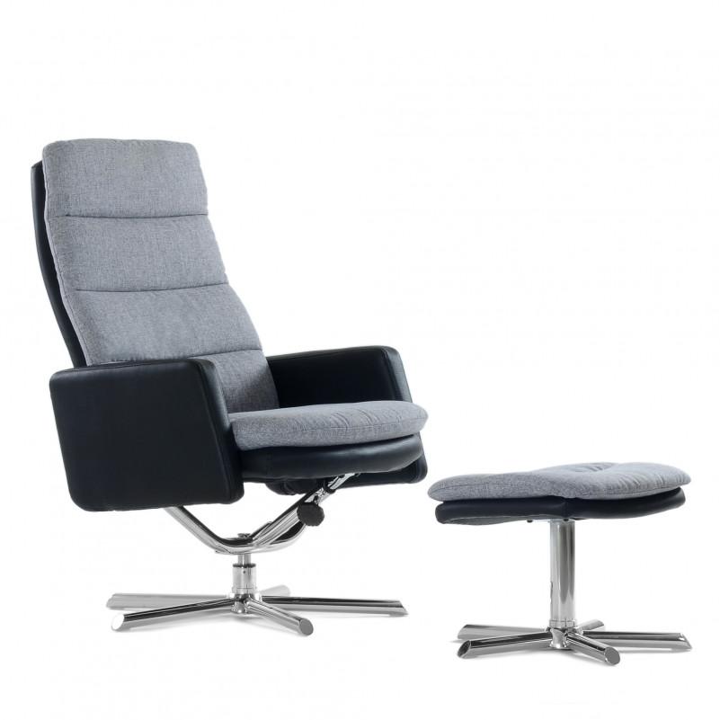 Кресло с оттоманкой Barneo 6095 черно-серое