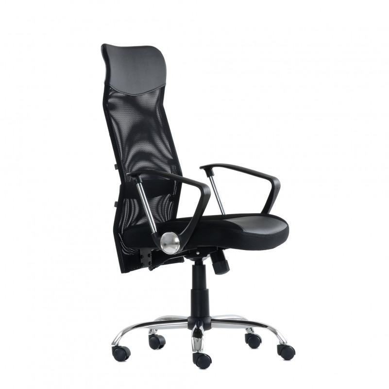 Кресло Barneo K-133H для персонала черная ткань черная сетка