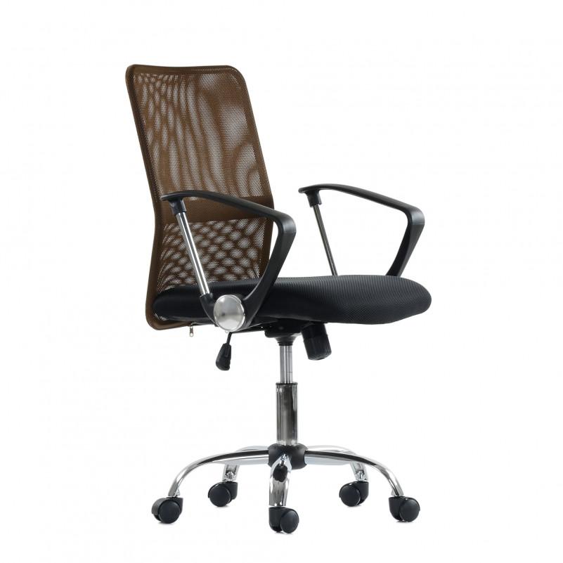 Кресло Barneo K-147 для персонала коричневая ткань и сетка