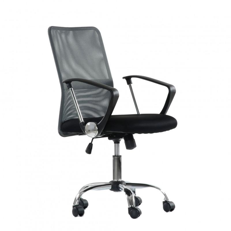 Кресло Barneo K-147 для персонала серая ткань и сетка