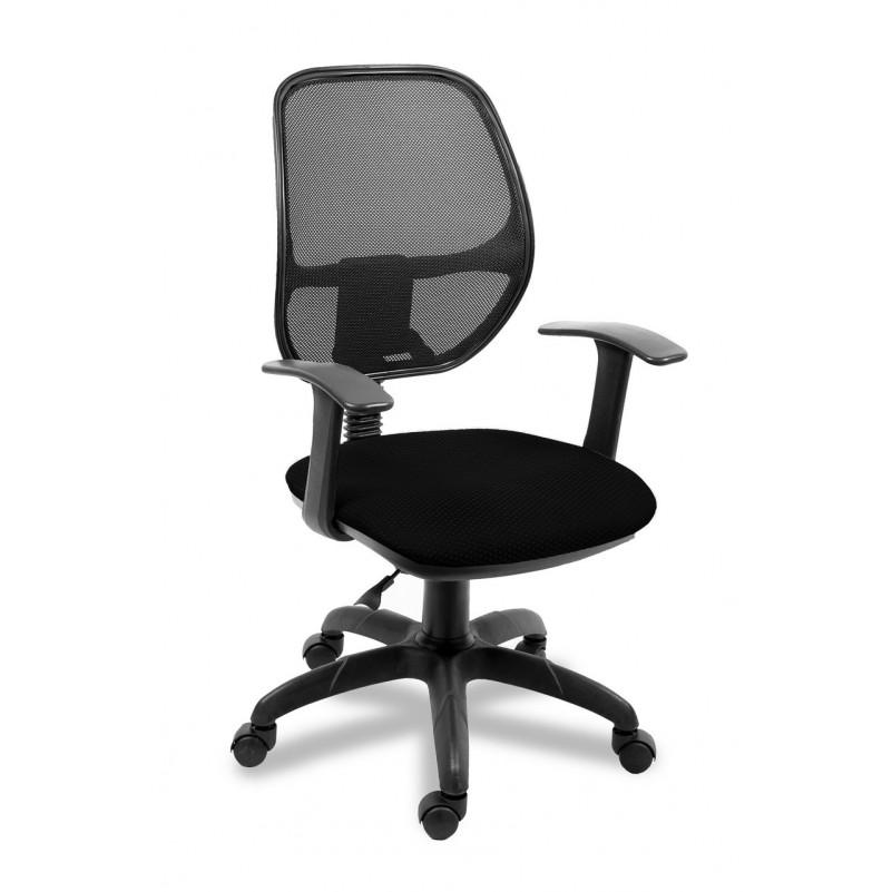 Кресло для персонала Марс Т комфорт, сетка черный, ткань ромб черный В-14