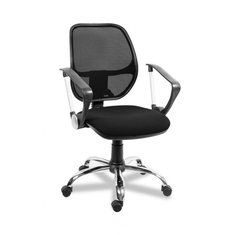 Кресло для персонала Марс РС 900 Хром комфорт, сетка черный, ткань черный В-14
