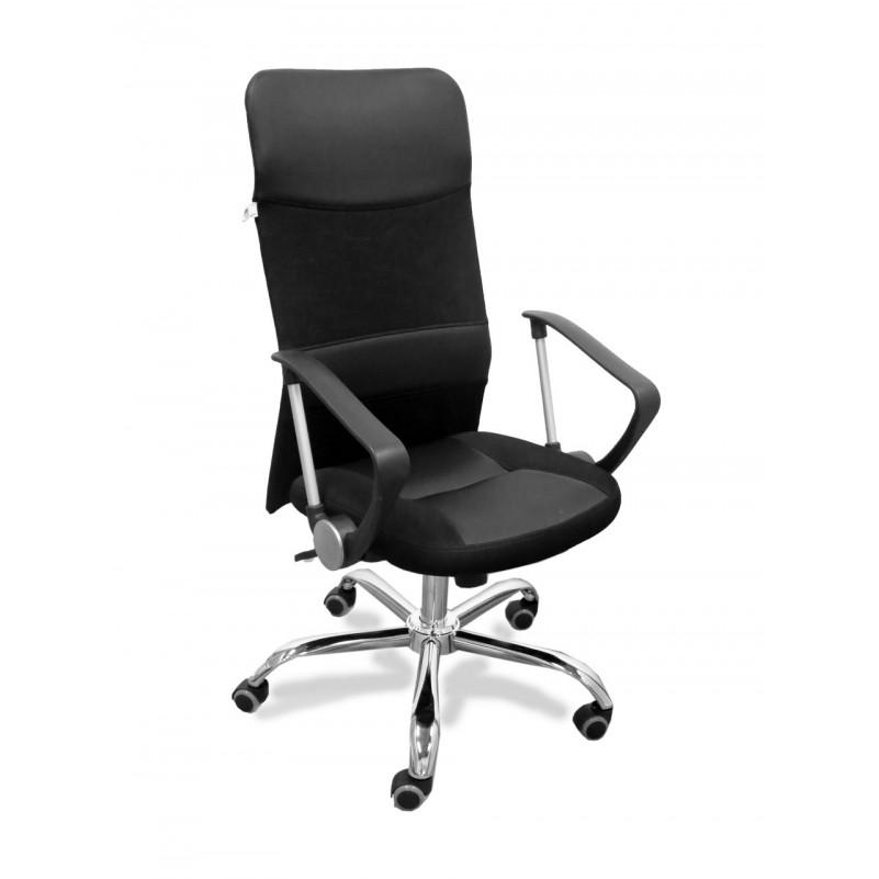 Кресло для персонала Астра А ЛЮКС РС900 ТОП хром, сетка черная