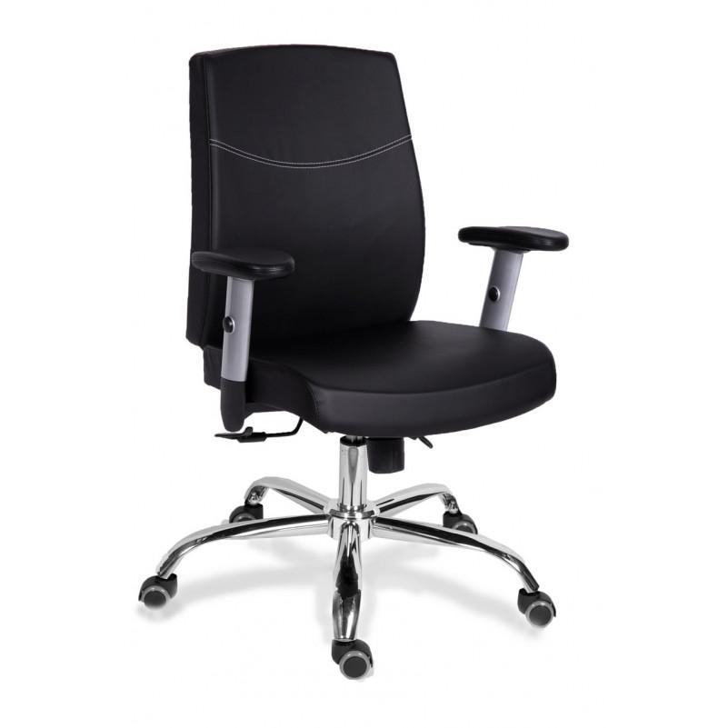Кресло для персонала МГ-19 RSJ ХРОМ  - экокожа черная