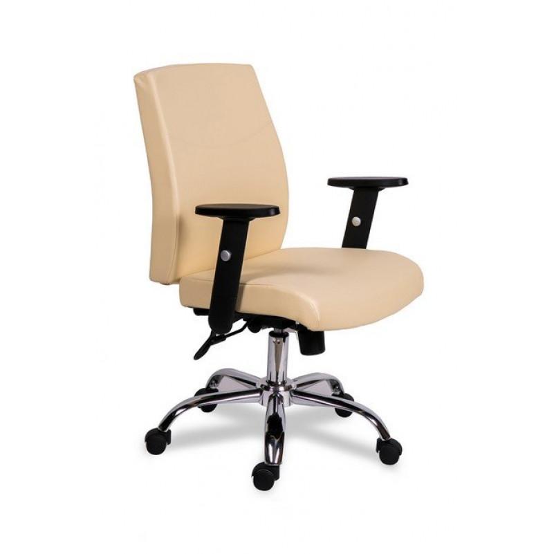 Кресло для персонала МГ-19 RSJ ХРОМ БЕЖЕВЫЙ  - экокожа бежевая