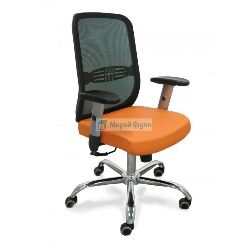 Кресло для персонала ТАЙМ RSJ ХРОМ, сетка черная, экокожа оранжевая