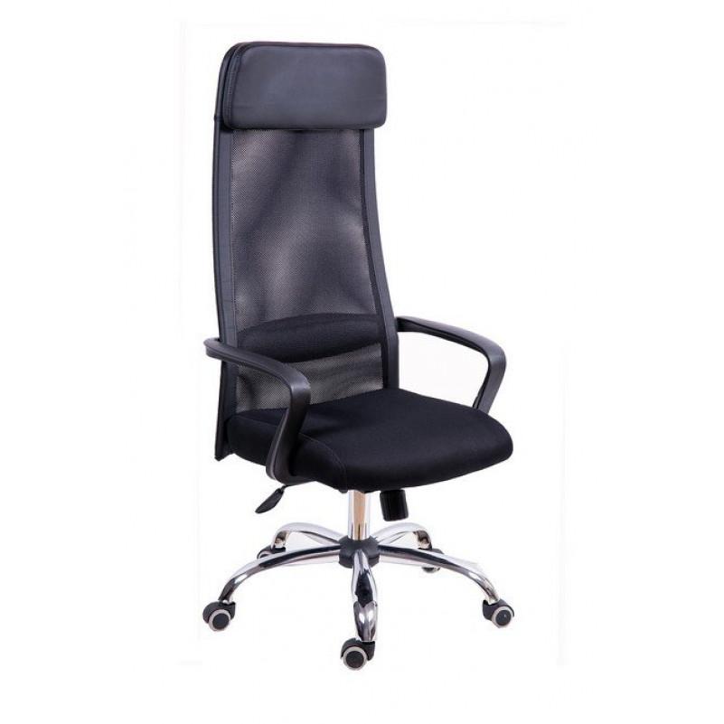 Кресло для руководителя МГ-17 ХРОМ -сетка черная
