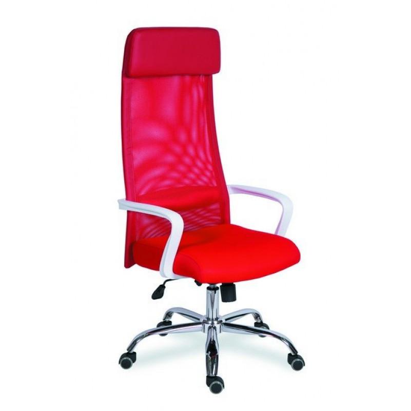 Кресло для руководителя МГ-17 ЛЮКС ХРОМ КРАСНЫЙ - сетка красная