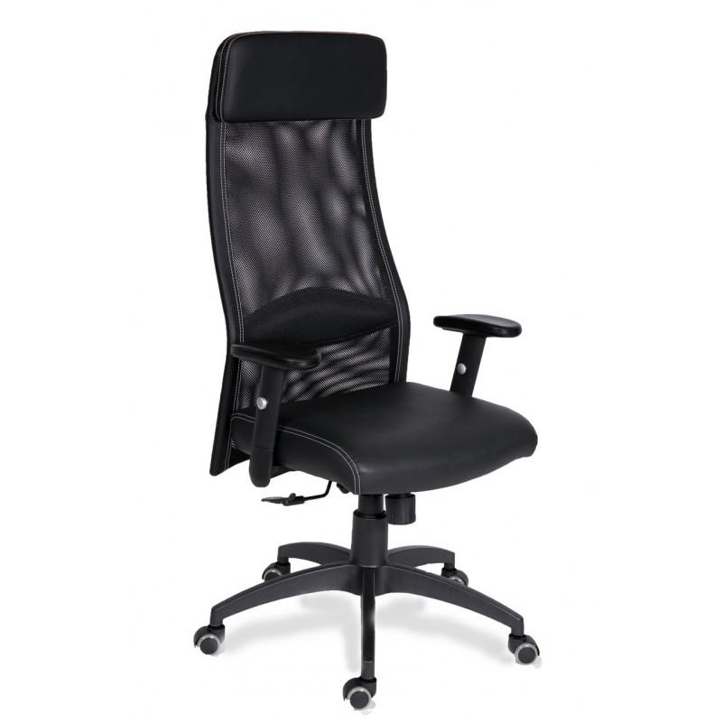 Кресло для руководителя МГ-18 RSJ ПАУК - экокожа черная, сетка черная