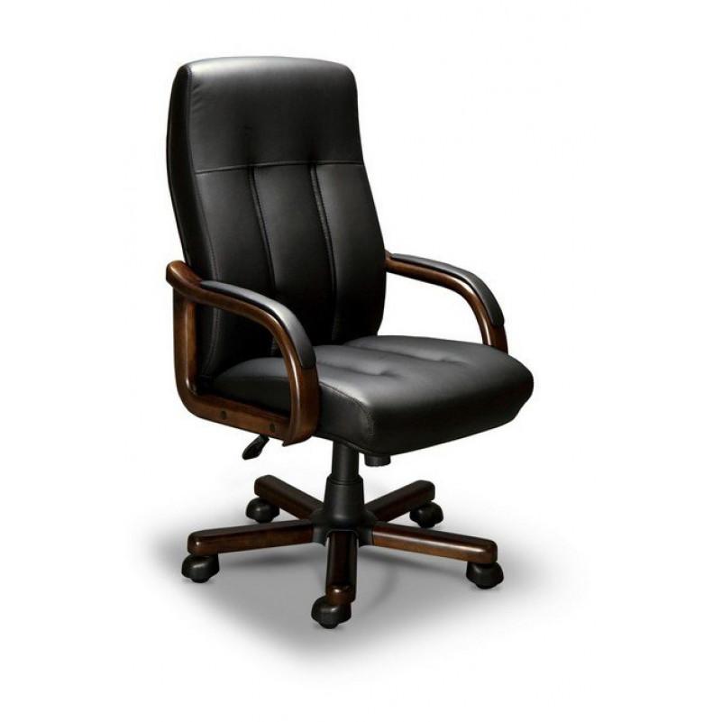 Кресло для руководителя FORUM A LX, орех Тай, кожа черная