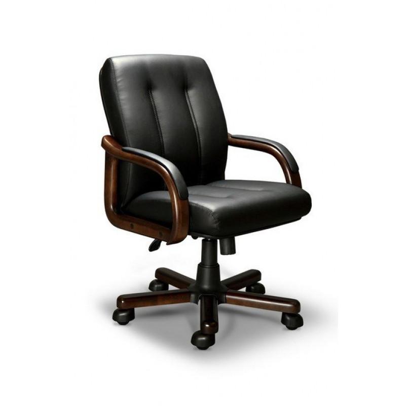 Кресло для руководителя FORUM B LX, орех темный, кожа черная