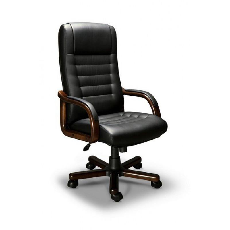 Кресло для руководителя MYRA A LX, орех Тай, кожа черная