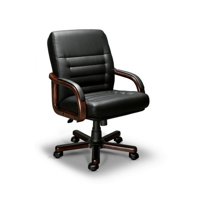 Кресло для руководителя MYRA B LX, орех темный, кожа черная