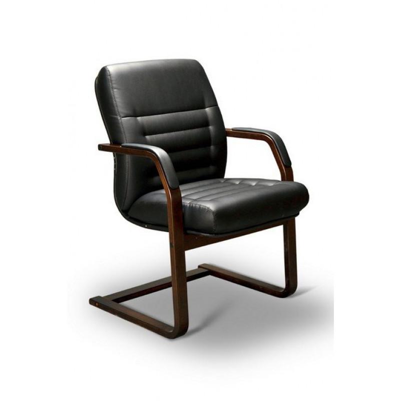 Кресло конференц MYRA C LX, орех темный, кожа черная