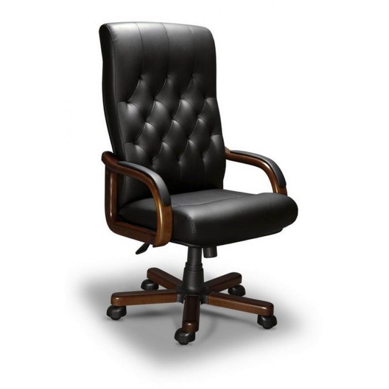 Кресло для руководителя OXFORD A LX, орех Тай, кожа черная