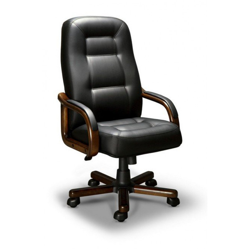 Кресло для руководителя VICTORIA A LX, орех Тай, кожа черная