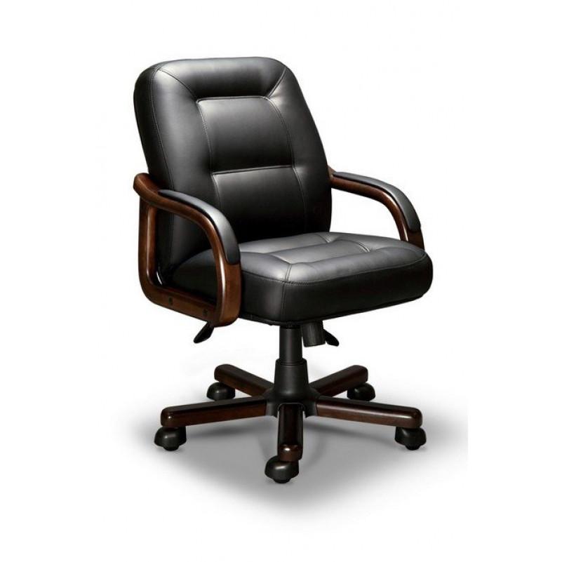 Кресло для руководителя VICTORIA B LX, орех Тай, кожа черная