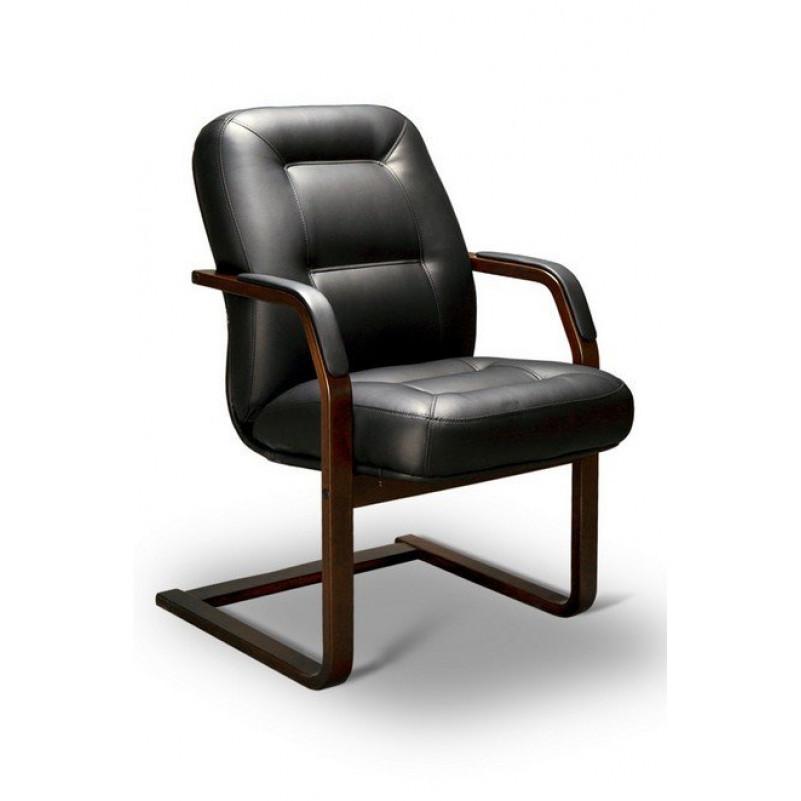 Кресло конференц VICTORIA C LX, орех темный, кожа черная