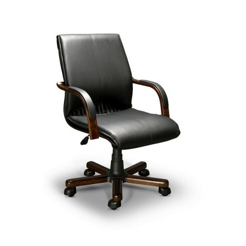 Кресло для руководителя BARBARA B LX, орех темный, кожа черная