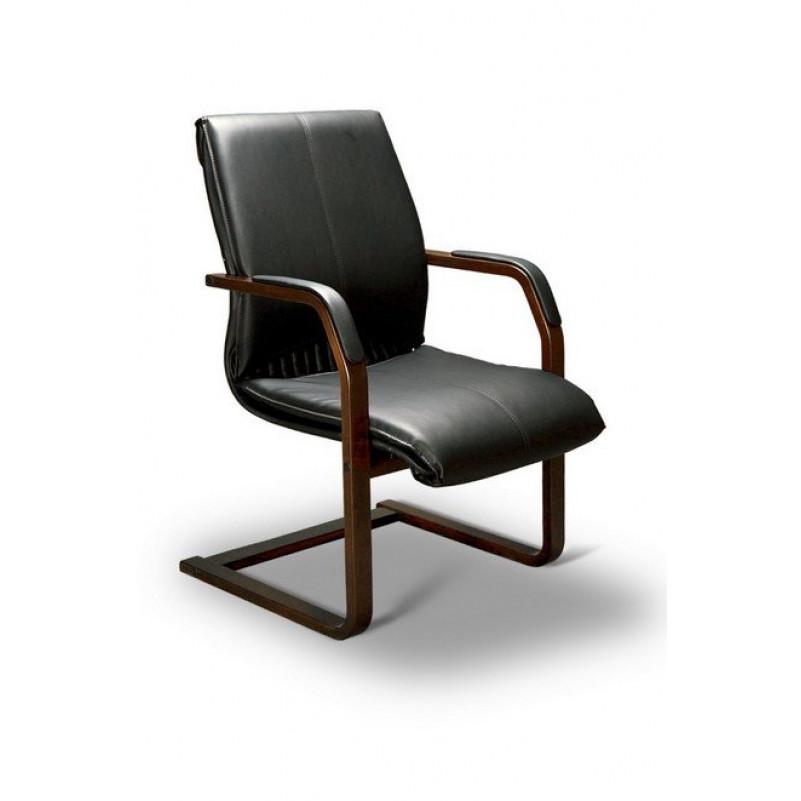 Кресло конференц BARBARA C LX, орех темный, кожа черная