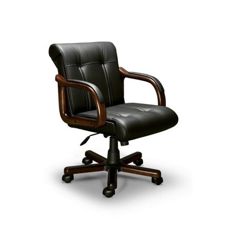 Кресло для руководителя PARIS B LX, орех темный, кожа черная