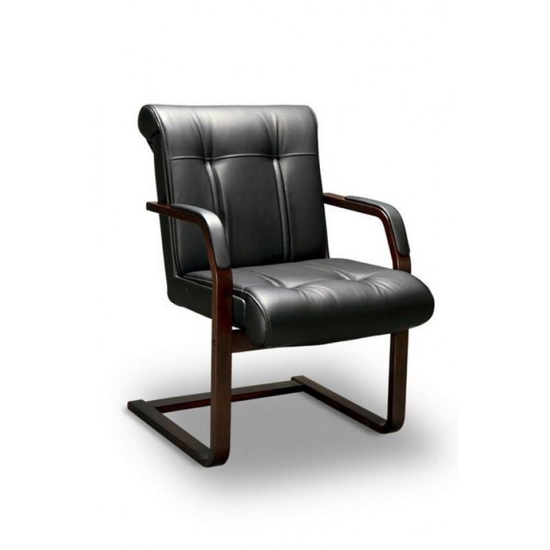 Кресло конференц PARIS C LX, орех темный, кожа черная