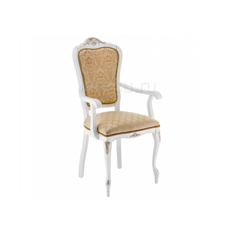 Кресло деревянное Руджеро патина золото / бежевый комби