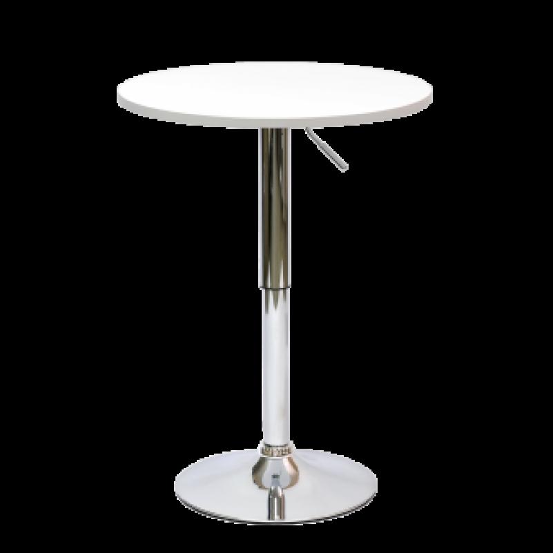 Стол Barneo T-2 барный MDF, высота 70-90см - круг диаметр 60см, RAL9003 белый