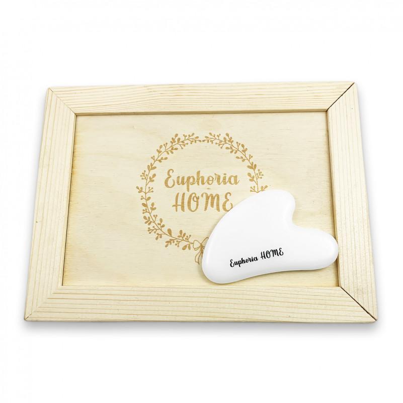 Скребок Гуаша Сердце Белый Агат в деревянной коробке