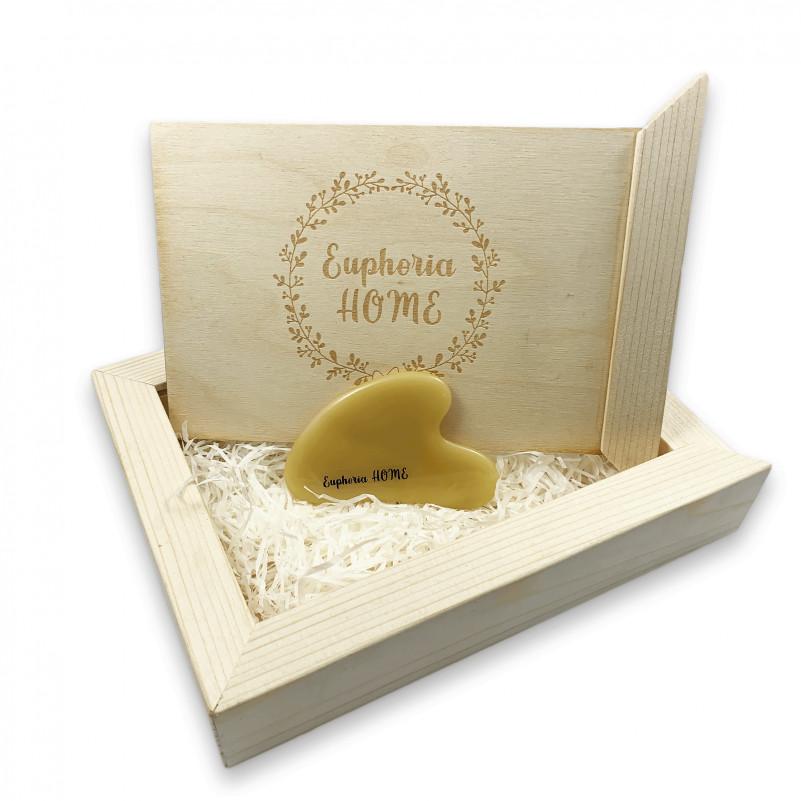 Скребок Гуаша Сердце из Желтый Агат в деревянной коробке