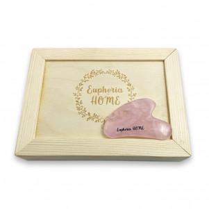 Скребок Гуаша Сердце Розовый Кварц в деревянной коробке