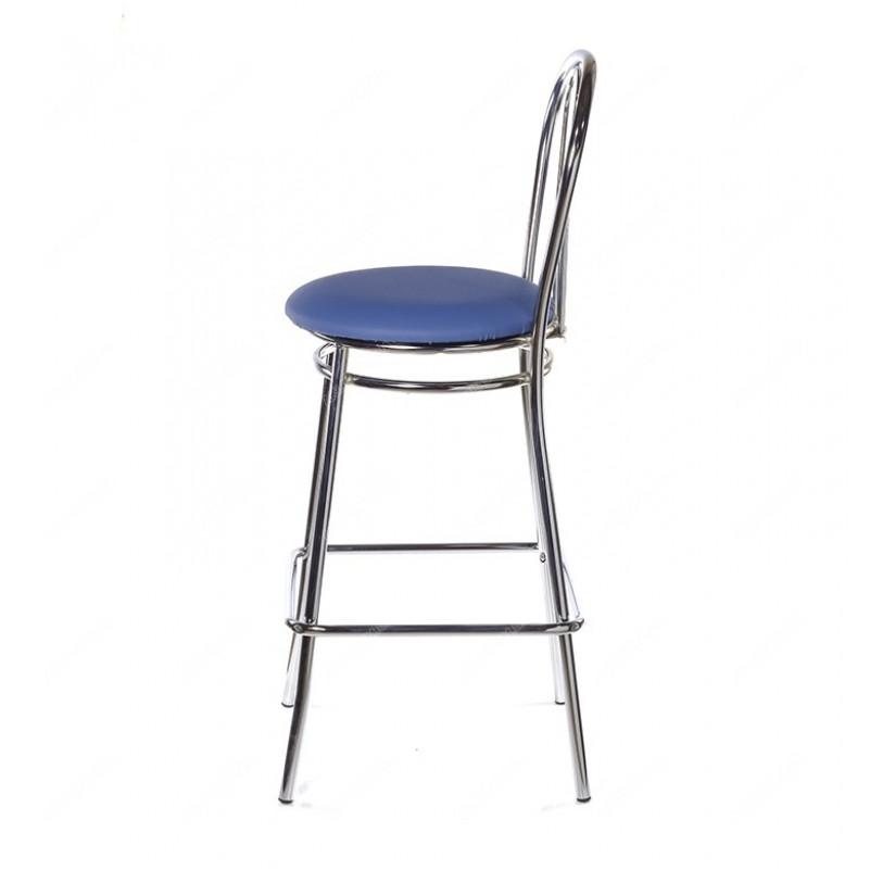 Барный стул Venus Hoker Chrome синяя кожа V-15, NS