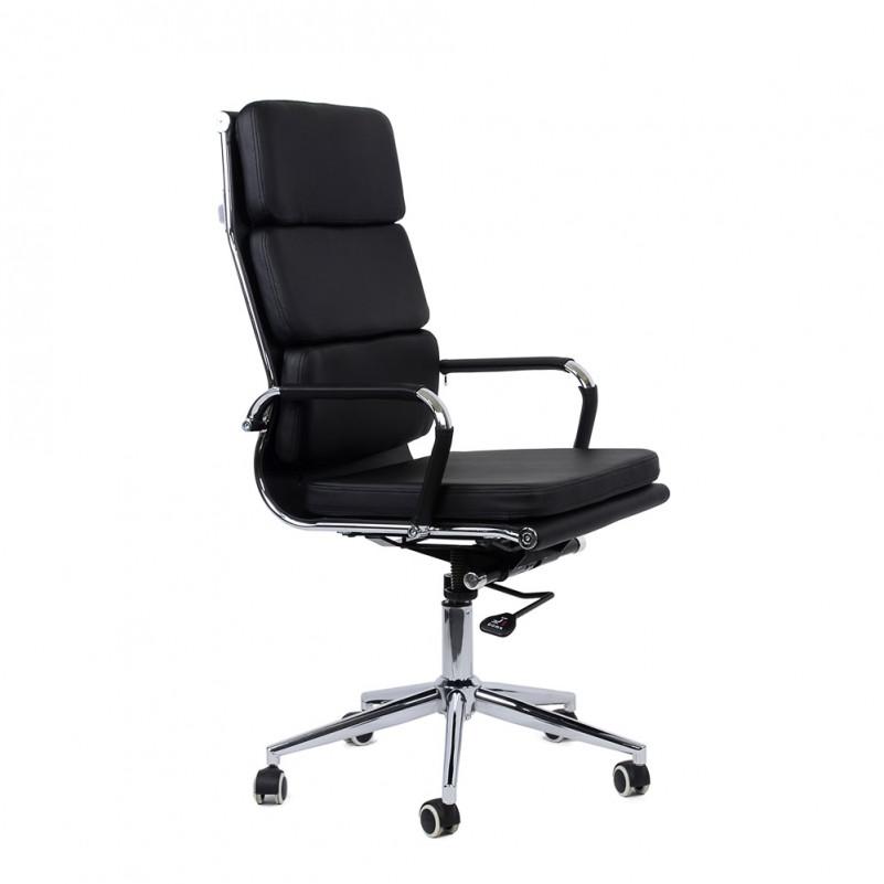 Кресло Barneo K-104 для персонала черная кожа (Ch-750)