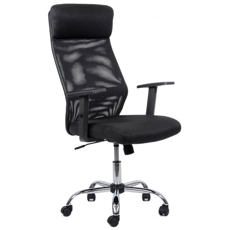 Кресло Barneo K-125 для персонала  черная ткань черная сетка