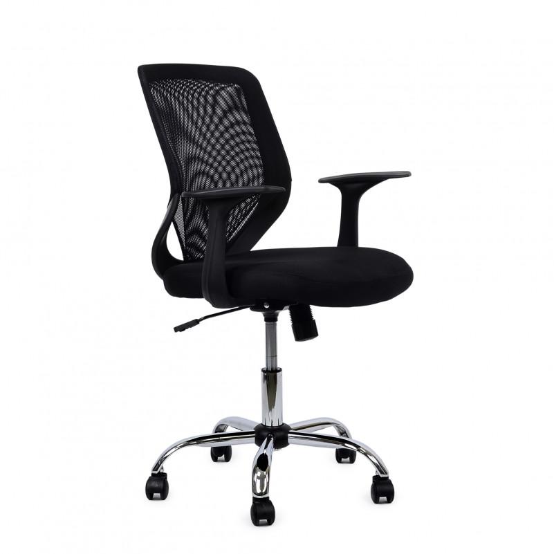 Кресло Barneo K-139 для персонала черная ткань черная сетка