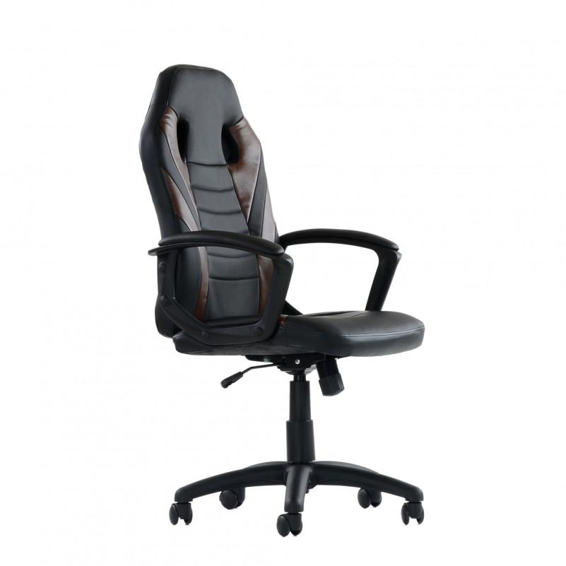 Кресло Barneo K-38 - PU черная кожа с коричневыми вставками